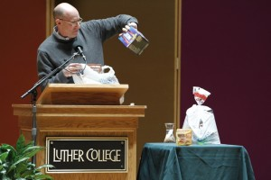 "Pollan displays ""edible food-like substances"" (photo by Aaron Lurth, copyright Luther College)"